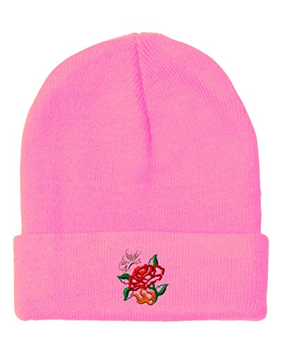 Butterfly Beanie Embroidered - Rose W Butterfly Embroidered Unisex Adult Acrylic Beanie Winter Hat - Soft Pink, One Size
