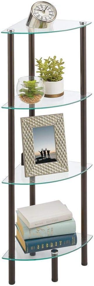 mDesign Estante esquinero con 4 baldas – Estante de metal y cristal en esquina de diseño moderno – Compacta estantería decorativa para baño, despacho, ...