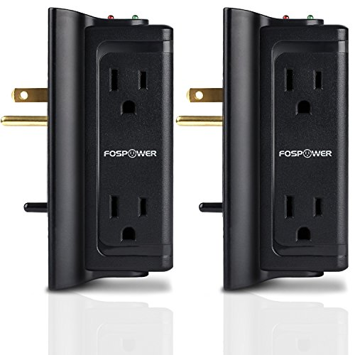 FosPower (2 Pack) 4-Outlet Mounted Wall Adapter Tap Surge Protector Power Strip with Surge Protection Light Indicator, UL Listed Surge Suppressor, 720 Joules (S4WJ7)
