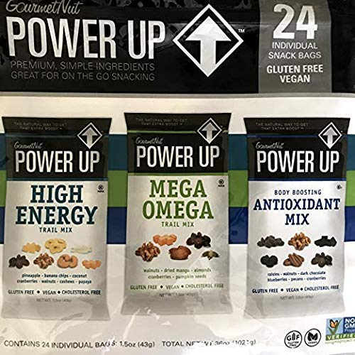 Power Up Trail Mix 100% Natural, Mega Omega Trail Mix, High Energy Trai Mix, Antioxidant Trai Mix, Variety Pack Total 36 oz,24 Ct