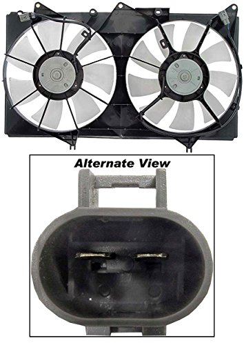 (APDTY 731643 Dual Radiator Cooling Fan Blade Motor Shroud Assembly Fits 2004-2008 Toyota Solara 3.3L / 2002-2003 Lexus ES300 / 2002-2006 Toyota Camry 3.0L (Replaces 16711-0A170, 167110A170))