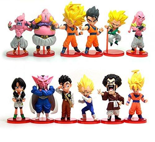 [12 pcs Dragon Ball Super Saiyan 3 Son Goku Gohan Vegeta Videl Majin Buu Gotenks Hercule Banpresto Action Figure] (Buu Costume)