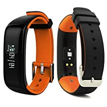 Bluetooth Smart Bracelet Watch Wristband Sports Blood pressure Heart Rate Monitor Fitness Tracker Pedometer Step Counter Tracking Calorie Health Sleep Monitor OLED Display for Android IOS