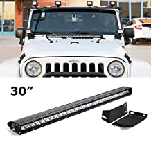 "iJDMTOY Complete Set 30"" 150W High Power CREE Single-Row LED Light Bar w/ Front Hood Mounting Brackets & Wiring Switch For 2007-2017 Jeep Wrangler JK"