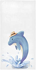 Wamika Cute Mr. Whale Hand Towels for Kids Boys Blue Dolphin Shark Face Towel Soft Thin Guest Towel Portable Kitchen Tea Towels Dish Washcloths Bath Decorations Housewarming Gifts 16 X 30 in