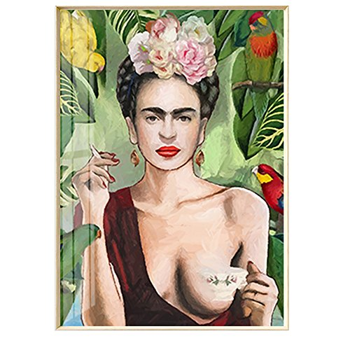 - Artliving Frida Kahlo Smoke and Drink Canvas Print Poster for Home Decor Wall Decor Unframed (40X50 cm)
