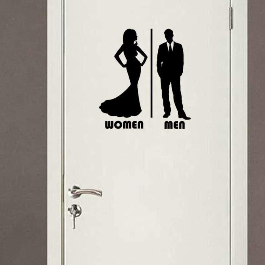 Fornateu Cartoon Hommes Femmes Toilette Porte deau Autocollant PVC Amovible Maison Bricolage d/écalcomanies Salon Chambre Fond d/écran
