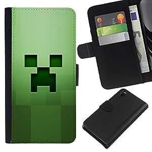 LECELL--Cuero de la tarjeta la carpeta del tirón Smartphone Slots Protección Holder For Sony Xperia Z3 D6603 -- Cara espeluznante verde --