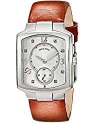 Philip Stein Womens 21-DSIL-CIBR Classic Stainless Steel Watch With Brown Leather Band
