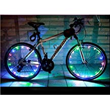 BlueSunshine Bike Wheel Lights - Auto Open and Close - Ultra Bright LED - Bicycle Wheel Spoke / Light String (1 pack) - Colorful Bicycle Tire Accessories- Waterproof