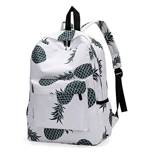 Goddessvan 2019 Women Canvas Lightweight Sturdy Roomy Pineapple Print Backpack School Bag Travel Daypack