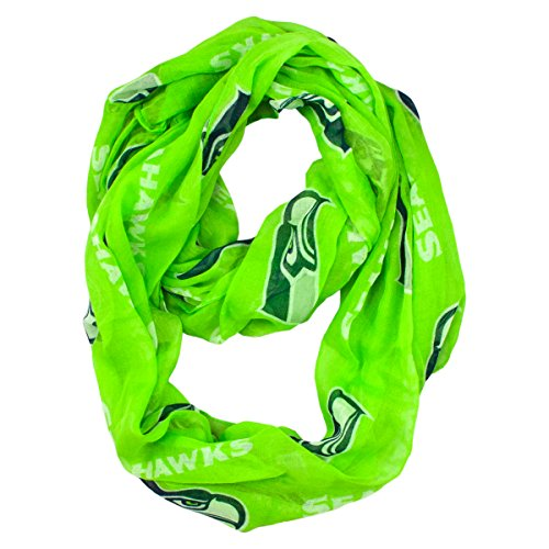 NFL Seattle Seahawks Sheer Infinity Scarf, One Size, Green