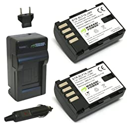 Wasabi Power Battery (2-Pack) and Charger for Panasonic DMW-BLF19 and Panasonic Lumix DMC-GH3, DMC-GH4