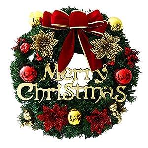 LIOOBO Christmas Wreath Merry Christmas Front Door Wreath Bowknot Christmas Poinsettia Flowers for Home Window Front Door