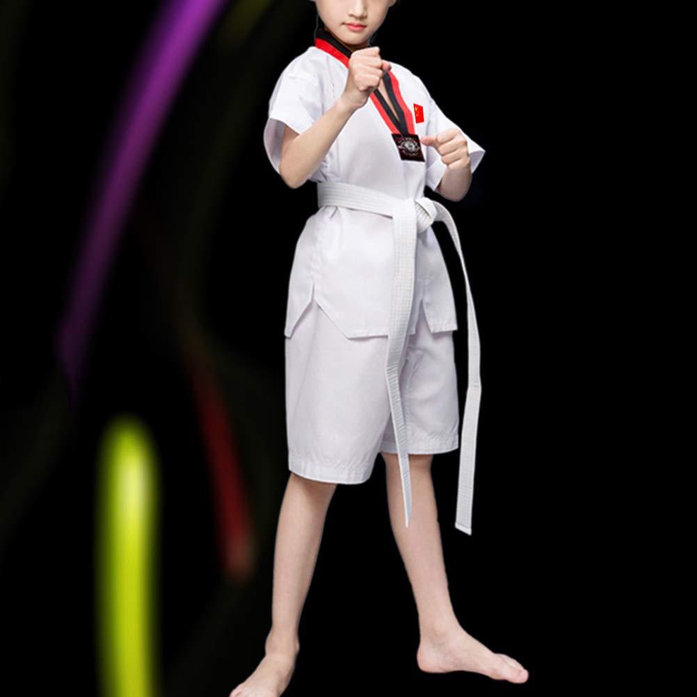 Cou en V Dobok Martial /Étudiant Uniforme Karat/é A/ïkido Judo Uniforme Kung Fu Formation Drapeau Chinois /À Manches Longues//Courtes Coton//Polyester Daytwork Ensembles Taekwondo Kimono Enfant Adultes