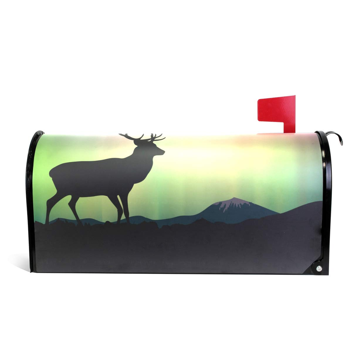 MAPOLO The Northern Lights Deer Magnetic Mailbox Cover for Standard Size
