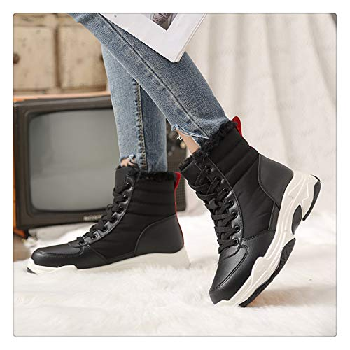 (Cute Cat Warm Boots Women Family Christmas Cotton Winter Shoes Women Boot Black)