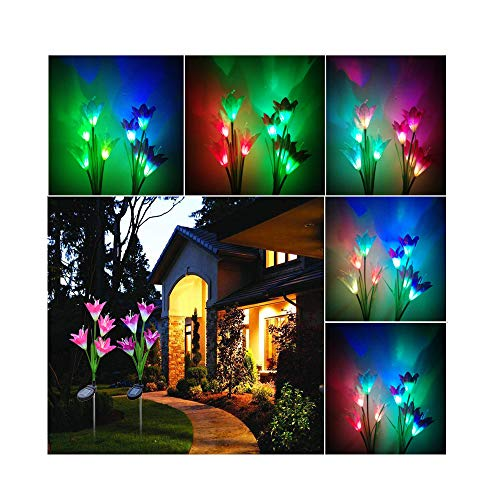 Path Mount Stem Light (JAWM Discoloration Outdoor Solar Powered Lily LED Solar Flower Light, LED Landscape Ground Mount Lamp Garden Decoration 2 Pcs (Red and Purple))