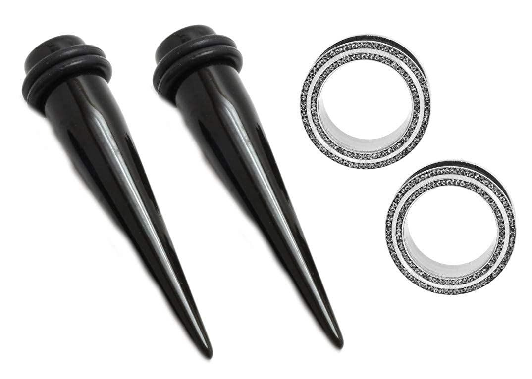 Mystic Metals Body Jewelry Black Acrylic Tapers Sold As a Pair 1//2 Inch 12mm
