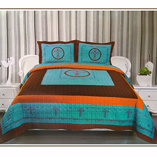 - Western Peak 3-Piece Cross Barb Wire Cabin/Lodge Quilt Bedspread Coverlet Set Turquoise (Queen)