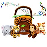KLEEGER Plush Talking Jungle Animals Toy Set (5 Pcs - Plays Sounds) with Carrier for Kids | Stuffed Monkey, Giraffe, Tiger & Elephant | Great Baby Shower Gift for Boys & Girls