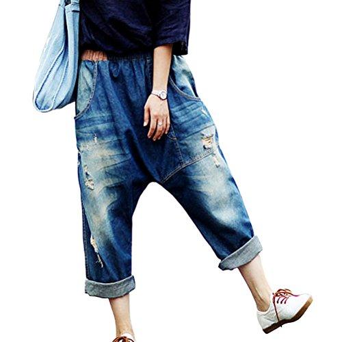 Aeneontrue Womens Casual Hip Hop Drop Crotch Ripped Harem Jeans Sreet Denim Pants Trousers