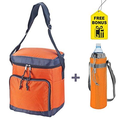 Wave Soft Cooler Bag for Keeping Food Cold or Hot – BONUS Free 1.5 Liter Water Bottle Cooler Bag –For Picnic, Office, Outdoors - Extra Storage in Front Pocket & Inner Pocket (Orange)