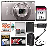 Canon PowerShot Elph 360 HS Wi-Fi Digital Camera (Silver) with 32GB Card + Case + Battery + Selfie Stick + Sling Strap + Kit