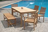 6 Pc Grade-A Teak Wood Dining Set - 71'' Rectangle Table, 4 Stacking Arm Leveb Chairs with 55'' Backless Bench #WFDSLV7