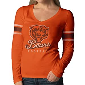 NFL Chicago Bears Women's Homerun Long Sleeve Tee,Small, Carrot