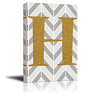 Marvelous Style, The Letter H in Gold Leaf Effect on Geometric Background Hip Young Art Decor, Crafted to Perfection