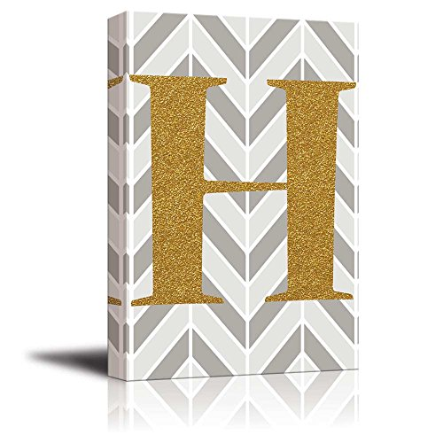 The Letter H in Gold Leaf Effect on Geometric Background Hip Young Art Decor