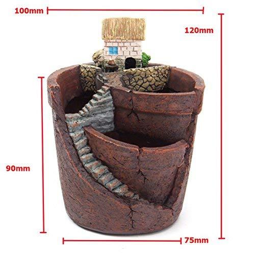 SQingYu Sky Garden Resin Succulent Plant Flower Pot, Micro Landscape House Herb Flower Basket Planter Pot Bonsai DIY Decoration