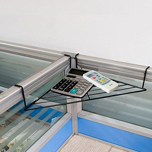 Chris-Wang Black Modern Metal Hanging Office Cubicle Corner Shelf / Floating Cubicle Wall Organizer Display Rack for Sundries & Flowerpot, 1-Tier