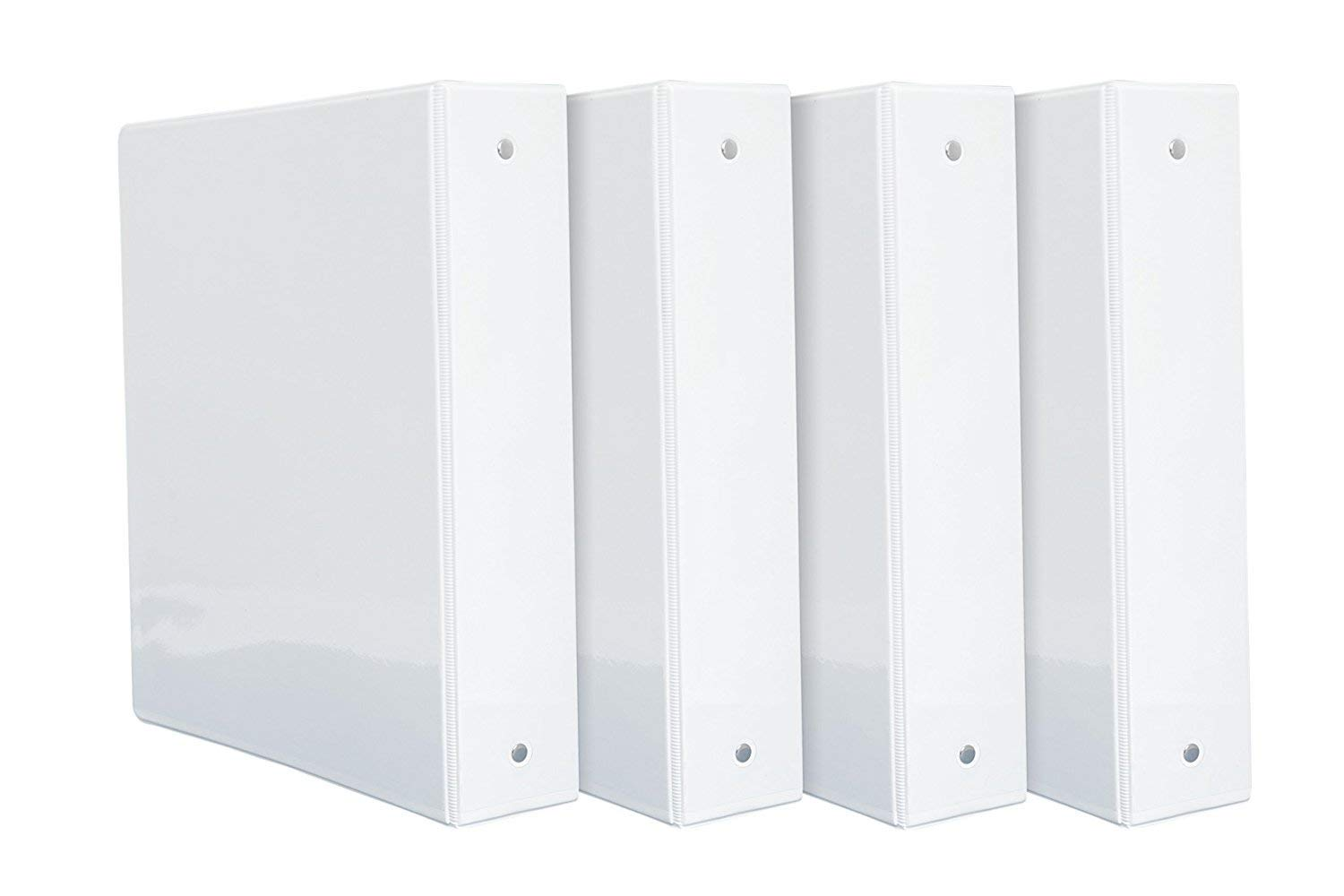 2 inch 3-Ring Binders, Rugged Design for Home, Office, and School-For 8.5 x 11 Paper, White, 4 Binders