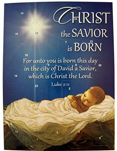Christ the Savior is Born Cardstock Advent Calendar with Die Cut Pull Tabs, 10 Inch (1) by Christmas Advent Calendar