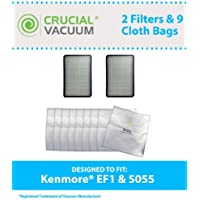 Think Crucial Replacement for Kenmore 9 5055 Cloth Bags & 2 EF1 Filters Fit Canister Vacuums 5055, 50557, 50558