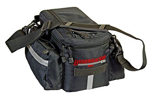 Bushwhacker® Mesa Trunk Bag Black w/ Rear Light Clip Attachment & Reflective Trim Bicycle Trunk Bag Cycling Rack Pack Bike Rear Bag