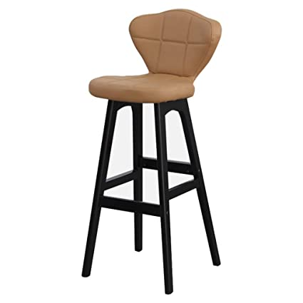 Bar Furniture Able Bar Stool Nordic Bar Chair Linen Fabric Bar Stool Pu Fabric Rotating Chair Solid Wood Backrest Cashier Front Desk High Stool Dependable Performance Furniture