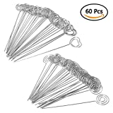 WOWOSS 60 Pieces Metal Wire Clip Card Note Photo Memo Holders Table Number Clip for Wedding Party Decor, Round and Heart Shape (4.7 inch Long)