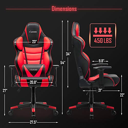 Musso Big Amp Tall Red Gaming Chair Adults Racing Computer