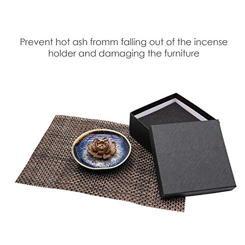 TRENDBOX Ceramic Handmade Artistic Incense Holder with Placemat in Gift Box - incensecentral.us