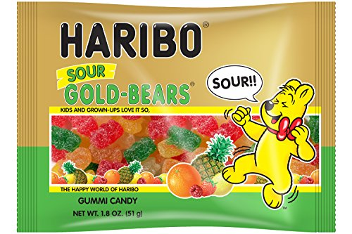Haribo New Sour Gold-Bears Gummi Candy in 1.8 oz Individual Serving Size Bags (Case of - Gummi Bears Sour