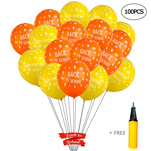 - WANTU Back - to - School Decorations - 100 PCS 12 inches Latex Back to School Balloons a Hand Air Pump Classroom Decor, Back to School Decor