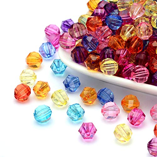 Craftdady 100Pcs Transparent Random Mixed Colors Acrylic Faceted Round Ball Spacer Beads 10mm Pastel Candy Color Small Plastic Loose Beads with 2mm Hole for DIY Jewelry Making ()