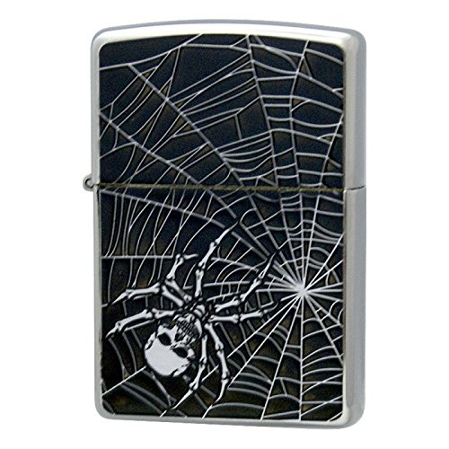 Zippo Skull Spider Web Black Chrome Etching Punk Rock Gothic Japan Limited