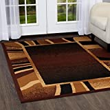 "Home Dynamix Premium Rizzy Area Rug by Modern Living Room Rug | Bold Border Design | Neutral Warm Brown Hues | Dark Brown, Tan, Beige 7'8"" x 10'7"""