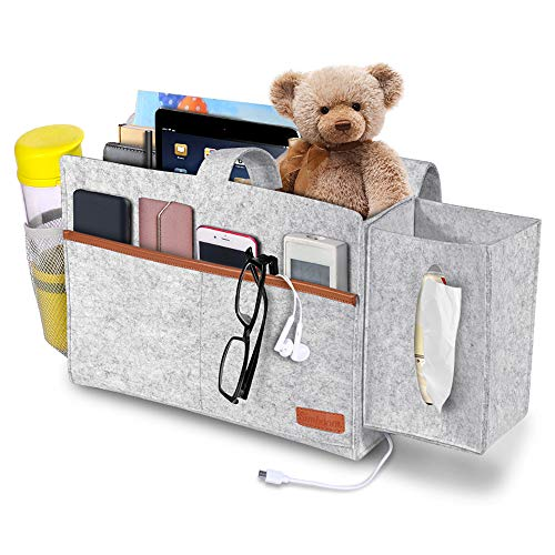 Simboom Bedside Organizer, Felt Bed Storage Caddy with Tissue Box and Water Bottle Holder, Magazine Phone Tablet iPad Remote Holder for Home College Dorm Bed Rails, Sofa, Bunk Beds - Light Grey