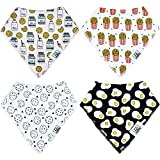 Baby Bandana Drool Bibs with Magnetic Closure - Unisex 4-Pack Gift Set with Free Cloth for Drooling Teething and Feeding, 100% Organic Cotton, Soft and Super Absorbent, Hypoallergenic (Food)