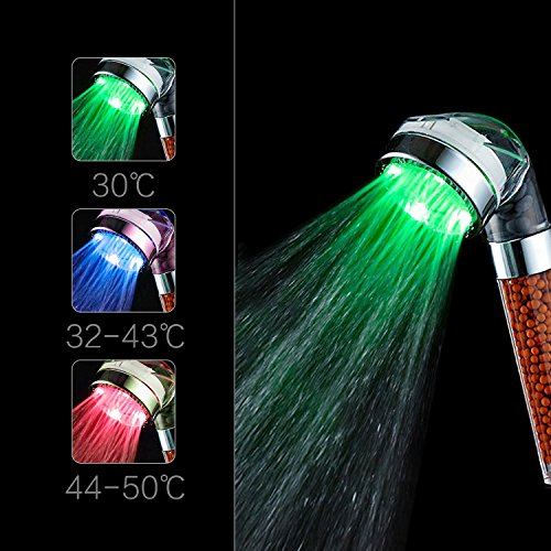 ICFPWR LED Shower Head, Negative Ionic Double Filter Removes Heavy Metals, Chlorine, Bacteria And Impurities, Emperature Sensor 3 Color Changing, ICFPWR LED Handheld Shower Head [Large] by ICFPWR